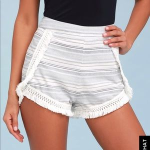 Lulu's Blue and Ivory Striped Shorts